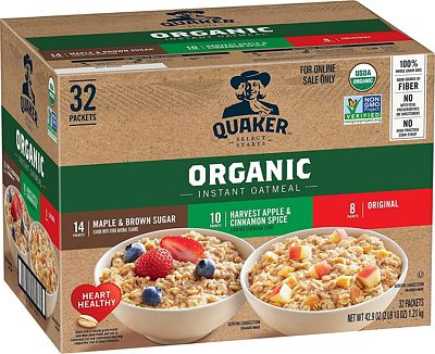 Purchase Quaker Instant Oatmeal, USDA Organic, Non-GMO Project Verified, 3 Flavor Variety Pack, Individual Packets, 32 Count at Amazon.com