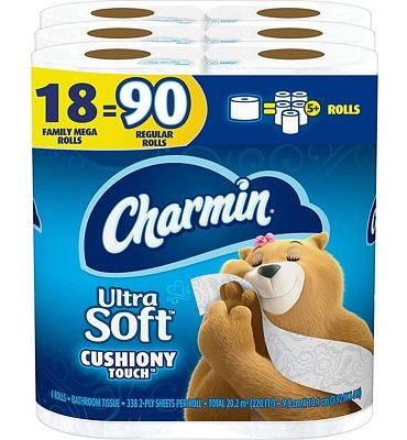 Purchase Charmin Ultra Soft Cushiony Touch Toilet Paper, 18 Family Mega Rolls (Equal to 90 Regular Rolls) at Amazon.com