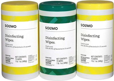 Purchase Amazon Brand - Solimo Disinfecting Wipes, Lemon Scent & Fresh Scent, 75 Wipes Each (Pack of 3) at Amazon.com