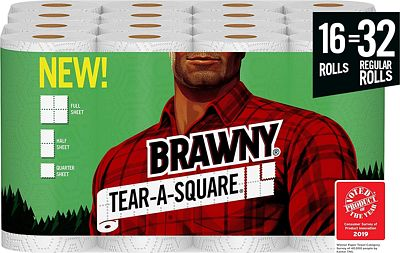 Purchase Brawny Tear-A-Square Paper Towels, Quarter Size Sheets, 16 Count at Amazon.com