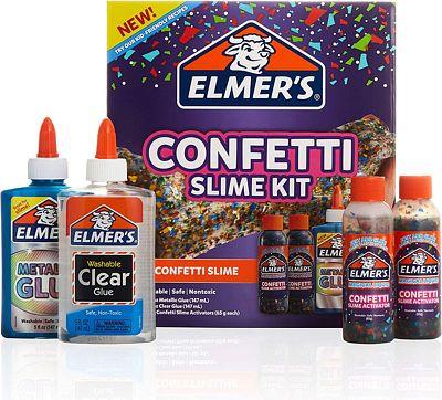 Purchase Elmers Confetti Slime Kit, Slime Supplies Include Metallic Glue, Clear Glue, Confetti Magical Liquid Slime Activator, 4 Count at Amazon.com