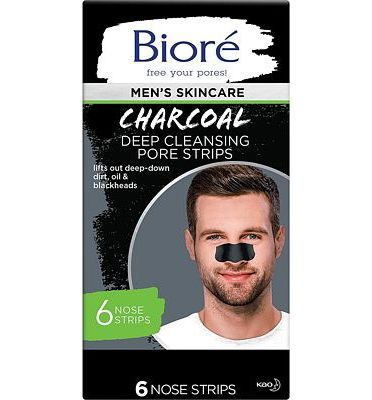 Purchase Biore Men's Charcoal, Deep Cleansing Pore Strips, 6 Nose Strips for Blackhead Removal on Oily Skin, with Instant Blackhead Removal and Pore Unclogging, features Natural Charcoal, 3x Less Oil at Amazon.com