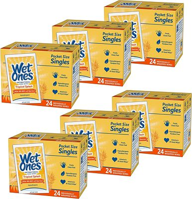 Purchase Wet Ones Antibacterial Hand & Face wipes, Citrus Scent Singles, 24 Count, Pack Of 6 at Amazon.com