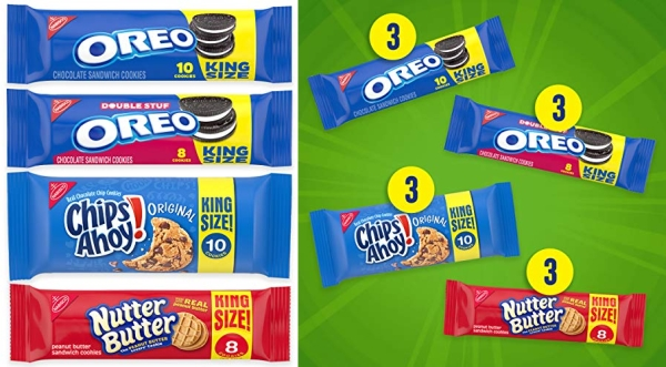 Purchase OREO Cookies, CHIPS AHOY! Cookies & Nutter Butter Cookies Variety Pack, 12 King Size Packs on Amazon.com