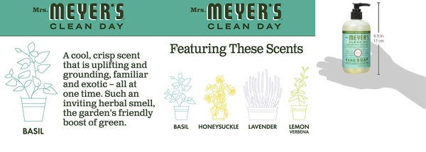 Purchase Mrs. Meyer's Clean Day Hand Soap, Basil, 12.5 fl oz, 3 ct on Amazon.com