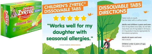 Purchase Children's Zyrtec 24 HR Dissolving Allergy Tablets, Cetirizine, Citrus Flavor, 24 ct on Amazon.com