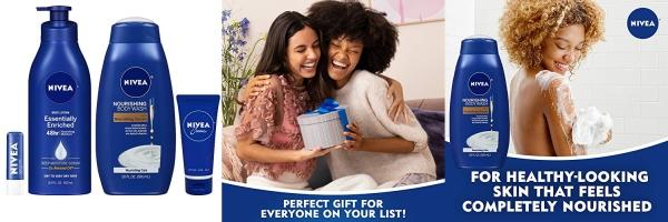 Purchase NIVEA Nourish & Care Gift Set, 4 Piece Skin Care Set - Body Lotion, Body Wash, Lip Balm and Creme, Travel Bag Included on Amazon.com