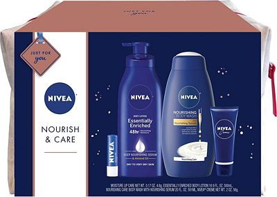 Purchase NIVEA Nourish & Care Gift Set, 4 Piece Skin Care Set - Body Lotion, Body Wash, Lip Balm and Creme, Travel Bag Included at Amazon.com