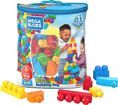 Purchase Mega Bloks First Builders Big Building Bag with Big Building Blocks, Building Toys for Toddlers (80 Pieces) - Blue Bag at Amazon.com
