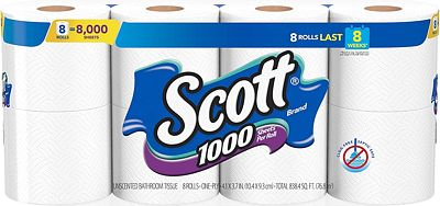 Purchase Scott 1000 Sheets Per Roll Toilet Paper, 4 Packs of 8 Rolls (32 Rolls Total) Bath Tissue at Amazon.com