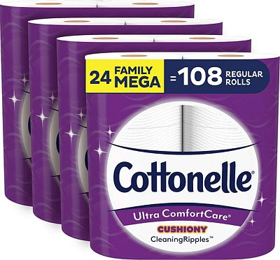 Purchase Cottonelle Ultra ComfortCare Soft Toilet Paper with Cushiony CleaningRipples, 24 Family Mega Rolls at Amazon.com