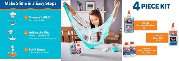 Purchase Elmers Crunchy Slime Kit, Slime Supplies Include Metallic Liquid Glue, Clear Liquid Glue, Crunchy Magical Liquid Slime Activator, 4 Count on Amazon.com