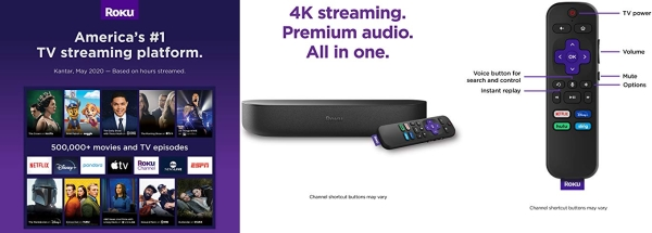 Purchase Roku Streambar, 4K/HD/HDR Streaming Media Player & Premium Audio, All In One, Includes Roku Voice Remote, Released 2020 on Amazon.com