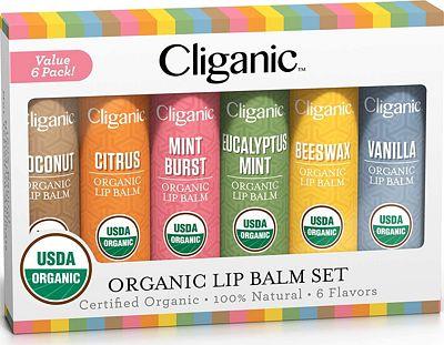 Purchase Cliganic USDA Organic Lip Balm Set - 6 Flavors - 100% Natural Moisturizer for Cracked & Dry Lips at Amazon.com