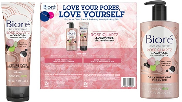 Purchase Biore Rose Quartz Charcoal Daily Purifying Face Wash & Scrub on Amazon.com