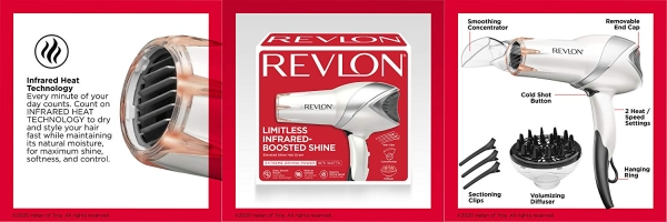 Purchase REVLON 1875W Infrared Heat Hair Dryer for Fast Drying and Elevated Shine, An Amazon Exclusive on Amazon.com