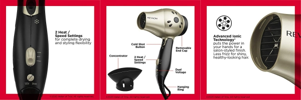 Purchase Revlon 1875W Compact+ Folding Handle Travel Hair Dryer on Amazon.com
