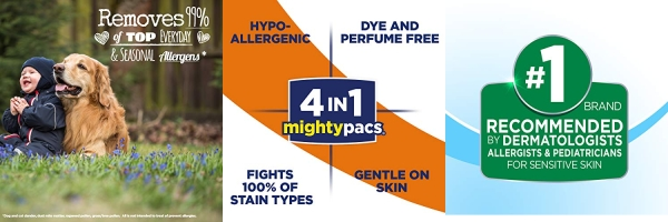 Purchase All Mighty Pacs Laundry Detergent with Oxi Stain Removers and Whiteners, Free Clear, Tub, 56 Count on Amazon.com