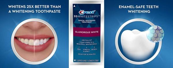 Purchase Crest 3D Whitestrips Glamorous White, Teeth Whitening Kit, 16 Treatments (32 Individual Strips) + 2 Bonus 1-Hour Express Treatments on Amazon.com
