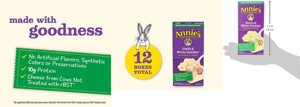 Purchase Annie's Macaroni and Cheese, Shells & White Cheddar Mac and Cheese, 6 Ounce, Pack of 12 on Amazon.com