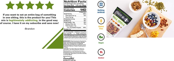 Purchase Power Up Trail Mix, Mega Omega Trail Mix, Non-GMO, Vegan, Gluten Free, No Artificial Ingredients, Gourmet Nut, 14 oz Bag, Green on Amazon.com