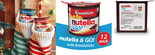 Purchase Nutella and Go Snack Packs, Chocolate Hazelnut Spread with Breadsticks, Perfect Christmas Stocking Stuffers and Bulk Snacks for Kids' Lunch Boxes, 1.8 Ounce, Pack of 12 on Amazon.com