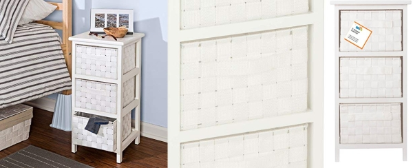 Purchase Honey-Can-Do 3-Drawer Natural Wood Frame Storage Organizer Chest, 12.01 by 24.80-Inch, White on Amazon.com