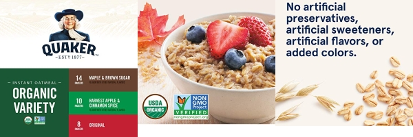 Purchase Quaker Instant Oatmeal, USDA Organic, Non-GMO Project Verified, 3 Flavor Variety Pack, Individual Packets, 32 Count on Amazon.com