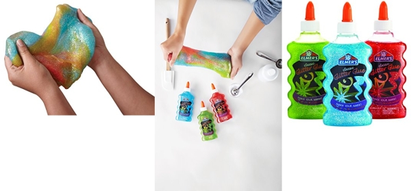Purchase Elmers Rainbow Slime Starter Kit with Green, Blue and Red Glitter Glue, 6 Ounces Each, 3 Count on Amazon.com