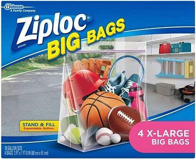 Purchase Ziploc Storage Bags, Double Zipper Seal & Expandable Bottom, XL, 4 Count, Big Bag at Amazon.com