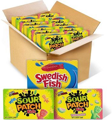 Purchase SOUR PATCH KIDS Original Candy, SOUR PATCH KIDS Watermelon Candy & SWEDISH FISH Candy Variety Pack, 15 Movie Theater Candy Boxes at Amazon.com