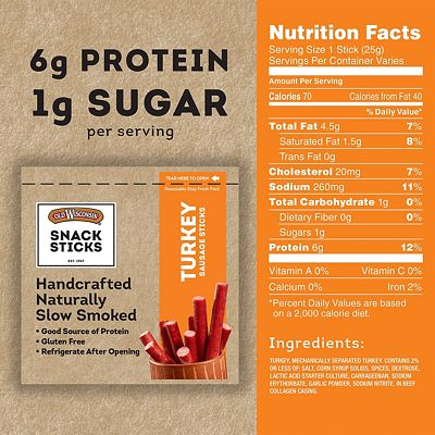 Purchase Old Wisconsin Turkey Sausage Snack Sticks, Naturally Smoked, Ready to Eat, High Protein, Low Carb, Keto, Gluten Free, 6 Ounce Resealable Package at Amazon.com