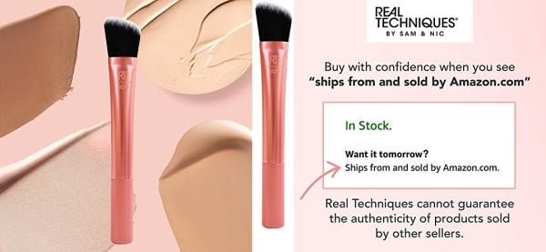 Purchase Real Techniques Cruelty Free Foundation Brush, Uniquely Shaped & Color Coded on Amazon.com