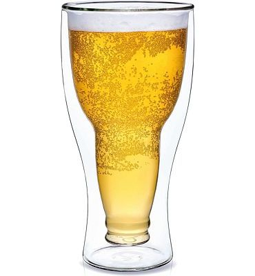 Purchase Dragon Glassware Beer Glass, Insulating Double Walled Upside Down Glass, 13.5-Ounce at Amazon.com