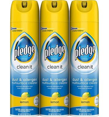 Purchase Pledge Dust & Allergen Multi-Surface Disinfectant Cleaner Spray, Works on Leather, Granite, Wood, and Stainless Steel, Lemon, 9.7 oz - Pack of 3 at Amazon.com