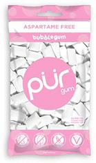 PUR 100% Xylitol Chewing Gum, Sugarless Bubble Gum, Sugar free & Aspartame Free, Vegan - Pink Gum, Teeth Whitening & Relieves Dry Mouth - Low Carb Pure Natural Flavored Candy, 55 Count