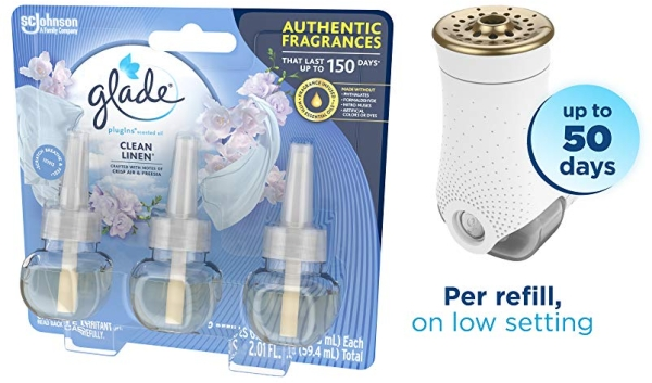 Purchase Glade PlugIns Refills Air Freshener, Scented and Essential Oils for Home and Bathroom, Clean Linen, 2.01 Fl Oz, 3 Count on Amazon.com