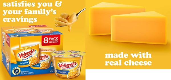 Purchase VELVEETA Original Microwavable Shells & Cheese Cups, 8 Count Box, Single Serving Cups with Delicious Velveeta Cheese Sauce, Convenient & Ready in 3.5 Minutes on Amazon.com