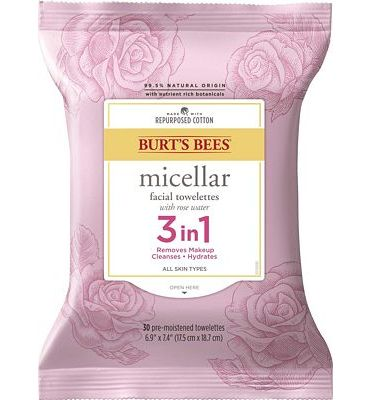 Purchase Burt's Bees 3 in 1 Micellar Facial Cleanser Towelettes and Makeup Remover Wipes with Rose Water, Made with Repurposed Cotton, 30 Count at Amazon.com