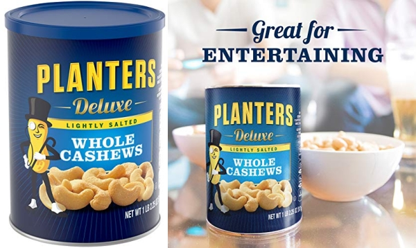 Purchase Planters Lightly Salted Deluxe Whole Cashews (1lb 2.25oz Canister) on Amazon.com
