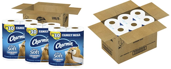 Purchase Charmin Ultra Soft Cushiony Touch Toilet Paper, 18 Family Mega Rolls (Equal to 90 Regular Rolls) on Amazon.com