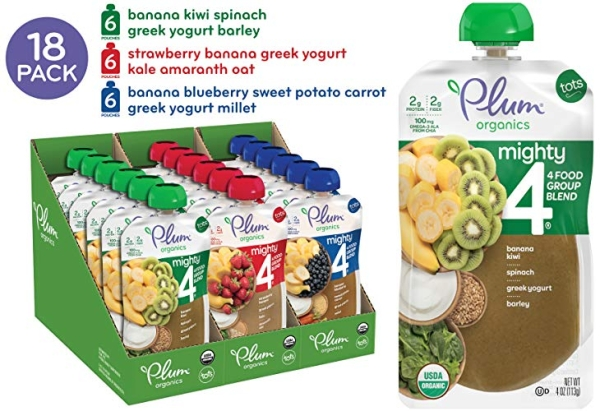 Purchase Plum Organics Mighty 4, Organic Toddler Food, Variety Pack, 4 Ounce (Pack of 18) on Amazon.com