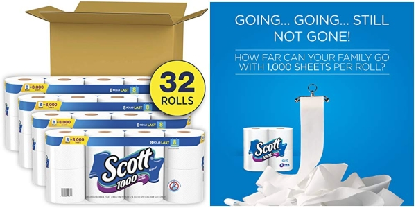 Purchase Scott 1000 Sheets Per Roll Toilet Paper, 4 Packs of 8 Rolls (32 Rolls Total) Bath Tissue on Amazon.com