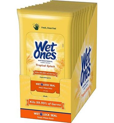 Purchase Wet Ones Antibacterial Hand Wipes, Tropical Splash Scent, 20 Count (Pack of 10) at Amazon.com
