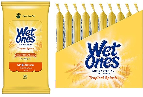 Purchase Wet Ones Antibacterial Hand Wipes, Tropical Splash Scent, 20 Count (Pack of 10) on Amazon.com