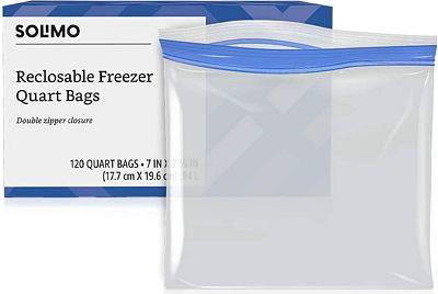 Purchase Amazon Brand - Solimo Freezer Quart Bags, 120 Count at Amazon.com