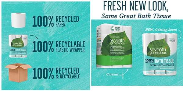 Purchase Seventh Generation Toilet Paper, Bath Tissue, 100% Recycled Paper, 24 Count, Pack of 2 on Amazon.com