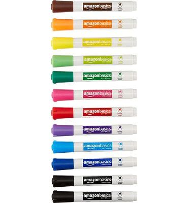 Purchase Amazon Basics Dry Erase White Board Markers - Low Odor, Chisel Tip - 12 Pack, Assorted Colors at Amazon.com