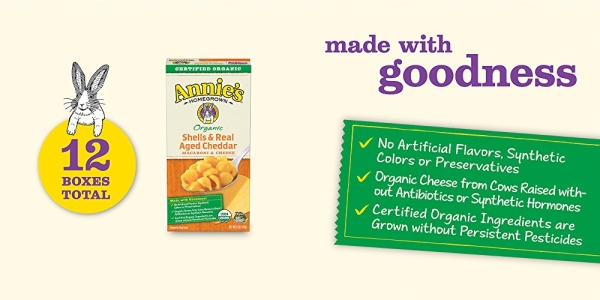 Purchase Annie's Organic Shells & Real Aged Cheddar Macaroni & Cheese, 12 Boxes, 6oz (Pack of 12) on Amazon.com