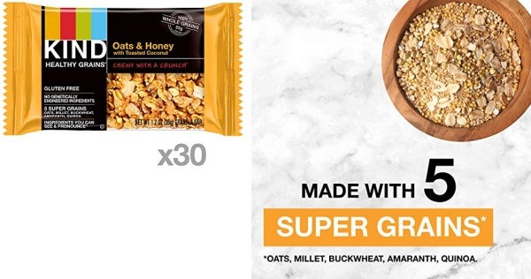 Purchase KIND Healthy Grains Granola Bars, Oats & Honey with Toasted Coconut, Gluten Free, 1.2 oz, 30 Count on Amazon.com